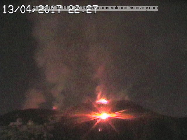 Beginning of lava effusion from both the summit vent and the opening vent at the southern base shortly after