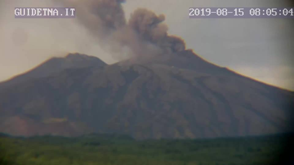 Ash emission from Etna's NE crater this morning (image: guidetna.it webcam)