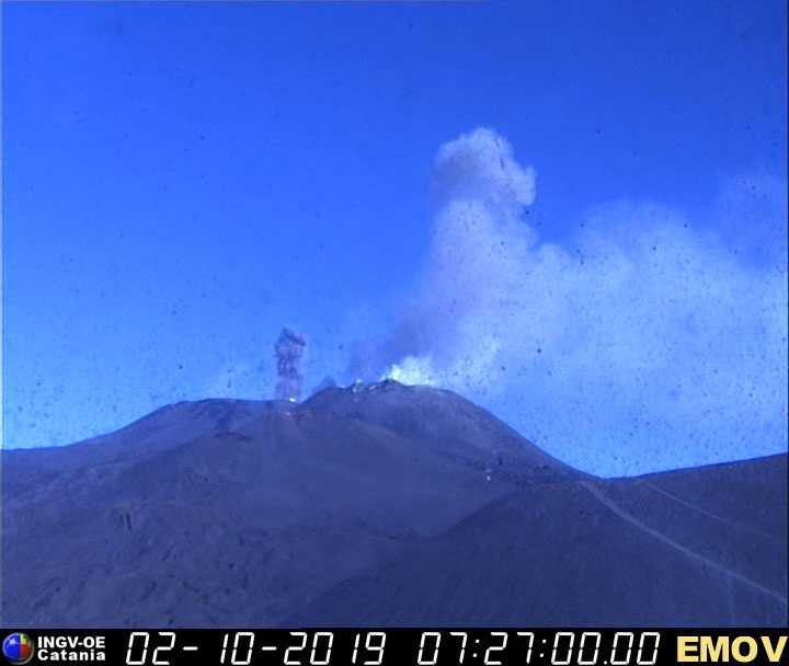 Ash emission from Etna's central crater this morning (image: INGV webcam)