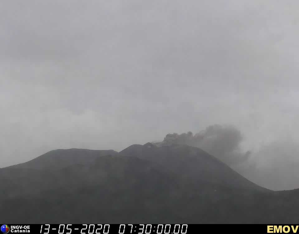 Ash emission from Etna's New SE crater this morning (image: INGV Catania webcam)