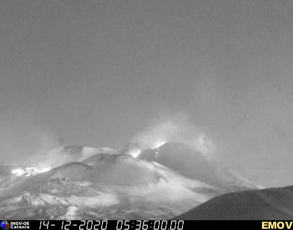 Etna with strombolian activity from New SE crater and the new lava flow early this motning (image: INGV webcam)