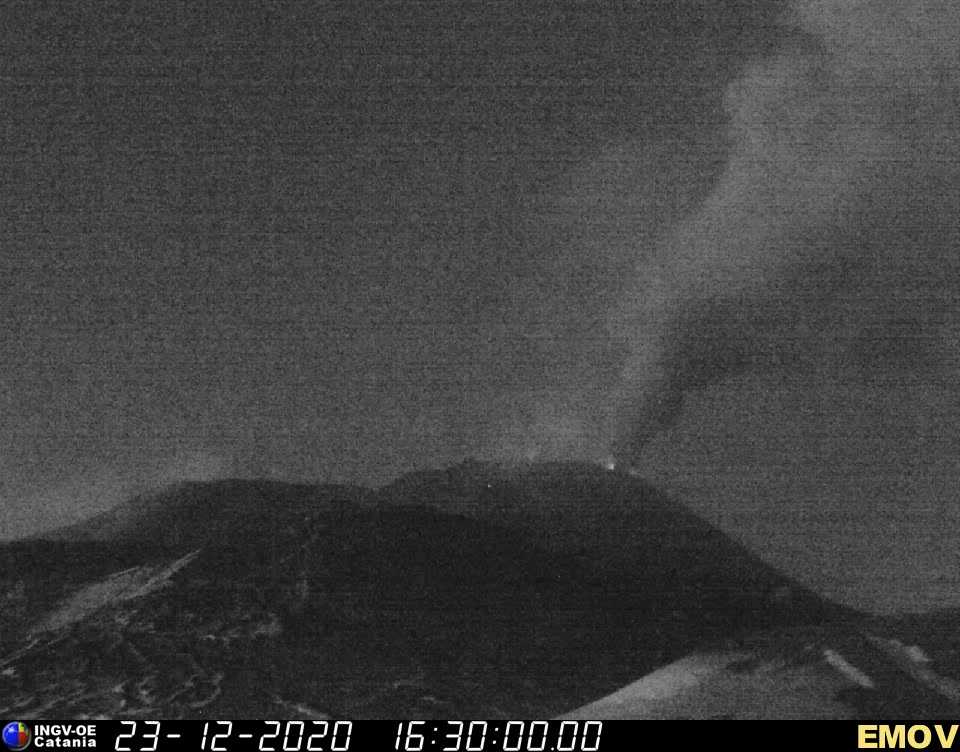 Weak strombolian activity at the eastern vent (r) and dense steam-ash emissions from the central crater of Etna's New SE crater this evening (image: INGV webcam)