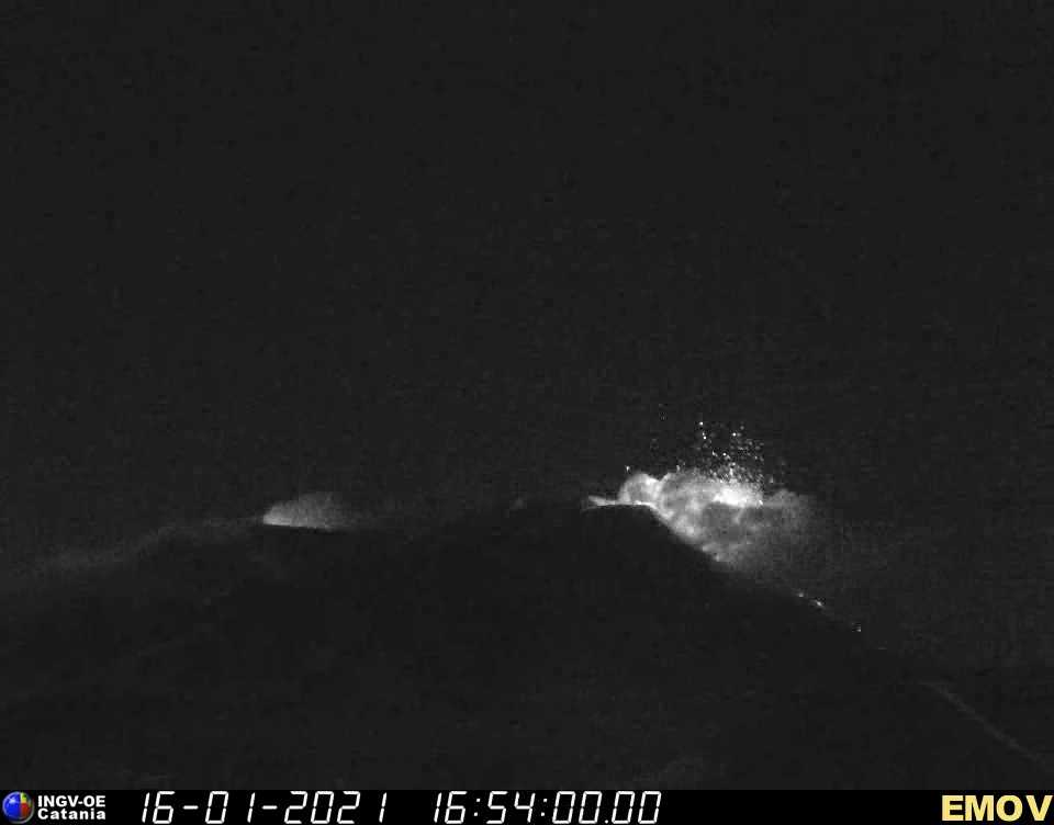 Strombolian activity from the New SE crater last night (image: INGV webcam)