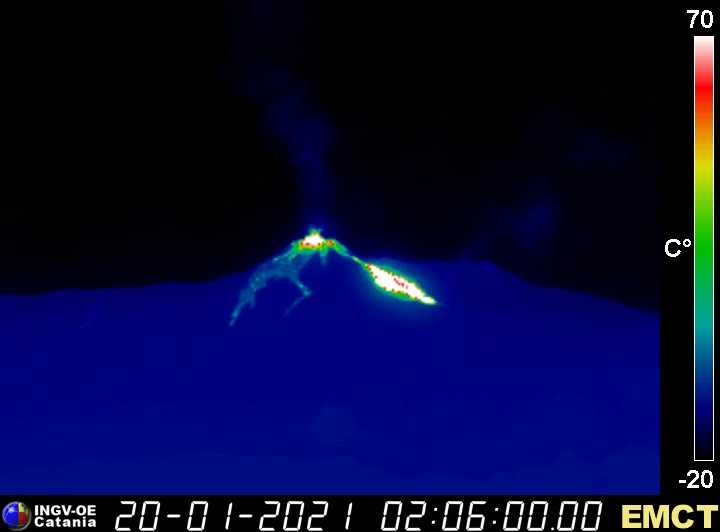 Lava flow on the NE side of the cone (image: INGV thermal webcam from Monte Cagliato)