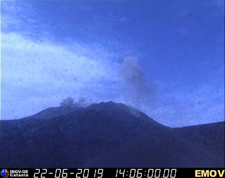Ash emission from Etna's Voragine summit crater this afternoon (image: INGV Catania)