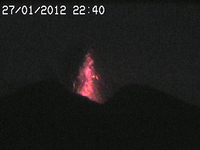 Strombolian erution late on 27 January as seen on the webcam