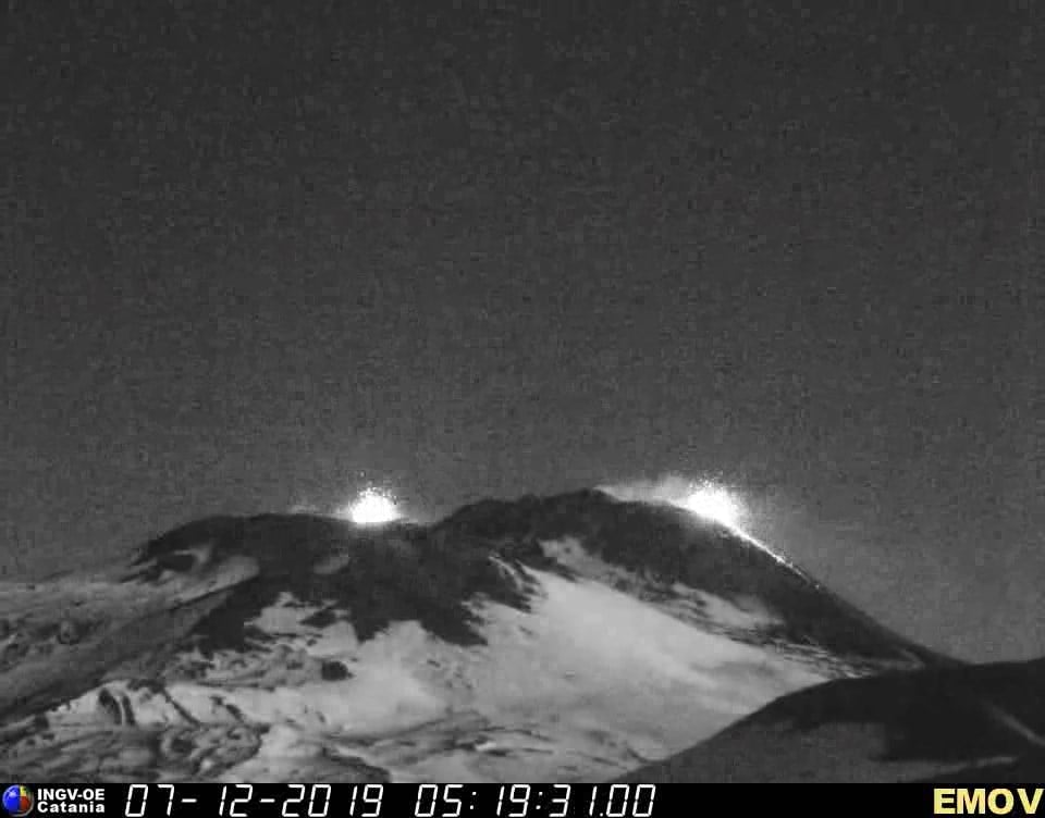 Etna volcano with strombolian activity at the Voragine (l) and New SE crater (r) this morning (image: INGV webcam)