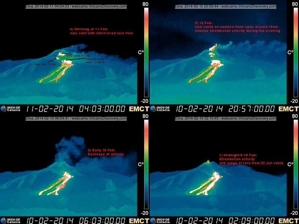 Comparison of thermal images showing the evolution of the eastern flank of the NSEC during the past 36 hours