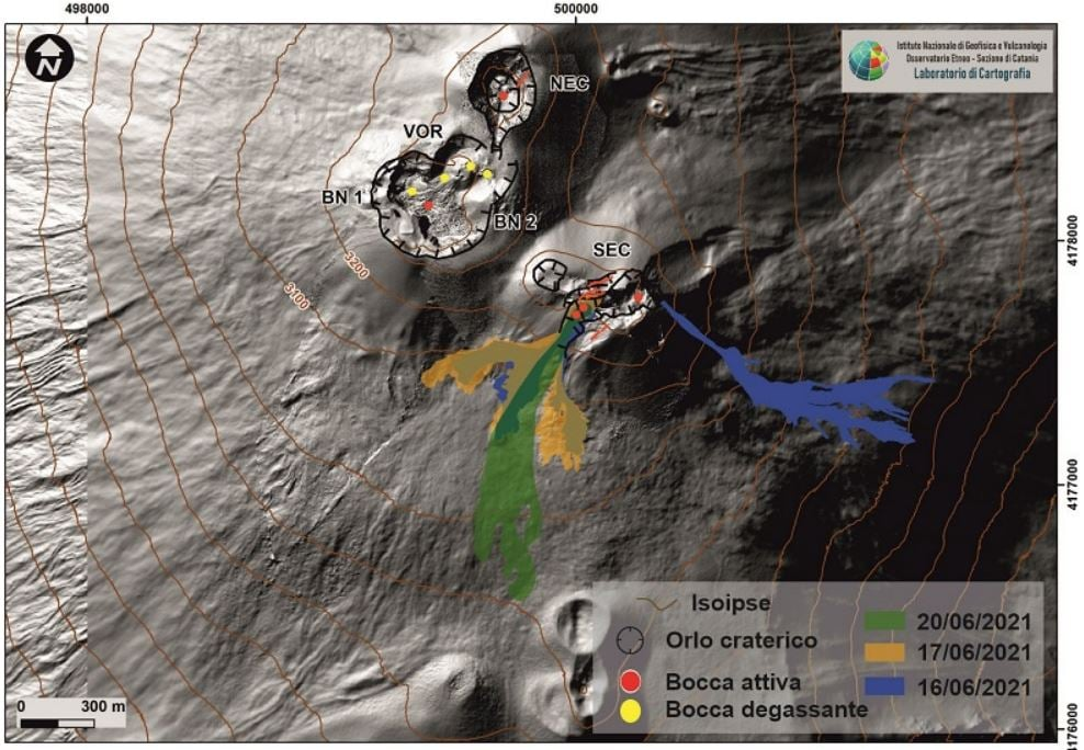 A map of the configuration of Etna's summit vents as of late June 2021 (image: INVG Catania / facebook)
