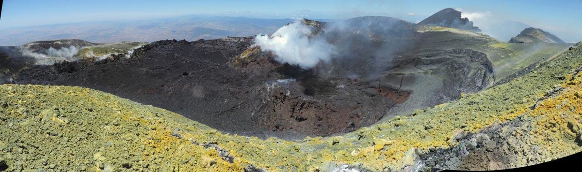 Panorama over Etna's ummit craters (l: Bocca Nuova, c: Voragine; r: NE crater) taken on 3 June from the southern rim of Voragine (image: B. Behncke)