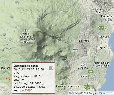 Location of the 2.9 earthquake under Etna this morning
