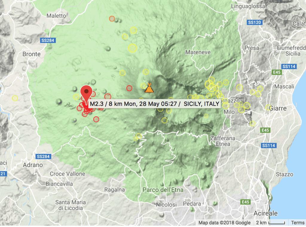 Recent earthquakes under Etna volcano