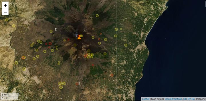 Earthquakes under Etna volcano during the past 7 days