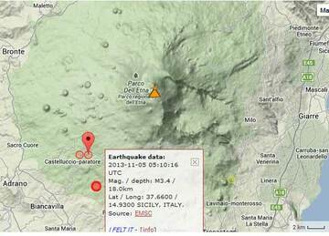 Map of recent earthquakes under Etna