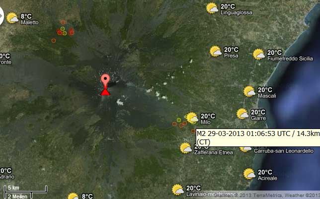 Location of recent earthquakes under Etna