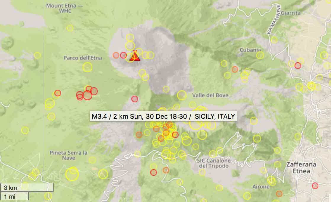 Location of recent earthquakes under Mt Etna volcano during the past 7 days (red: past 48 hours)