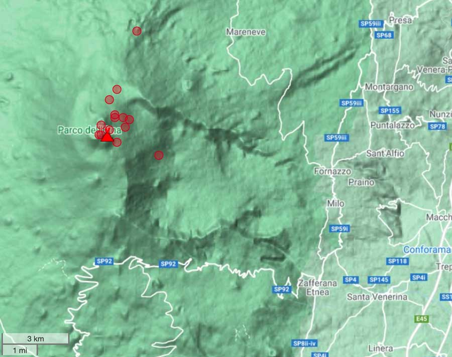 Earthquakes under Etna during the past 24 hours