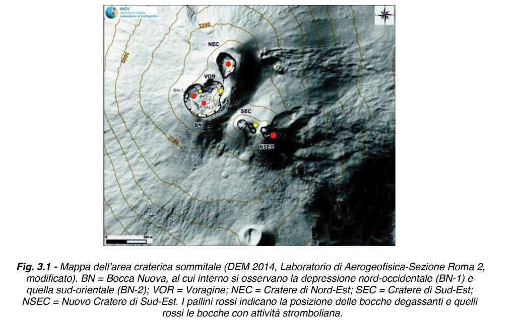 Map of Etna's summit craters at present (image: INGV)