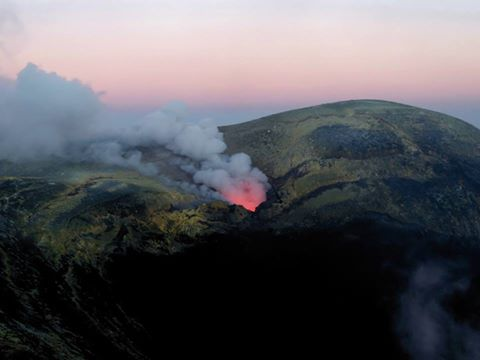 Etna's new pit crater in Voragine (image taken by B. Behncke from western rim of Voragine on 10 Aug 2016 at sunset)
