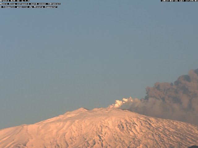 Ash emissions from Etna's SE crater cone (image: Nicola Zappala webcam from Bronte)