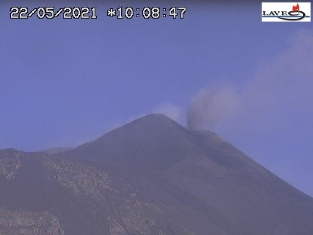 Small explosion at Etna's New SE crater earlier today (image: LAVE webcam)