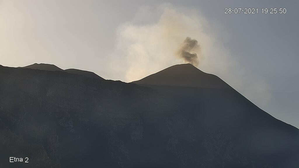 Mild explosion at Etna's New SE crater yesterday (image: LAVE webcam)