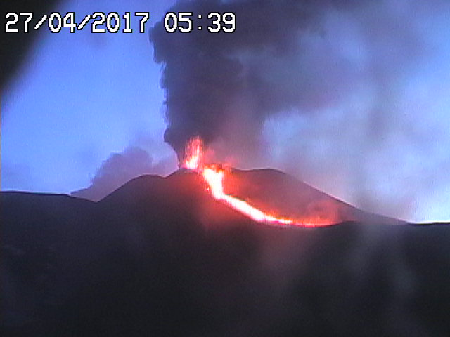 The first lava flow on the southern side of the SE crater and lava fountaining at the vent in the early hours of 27 April