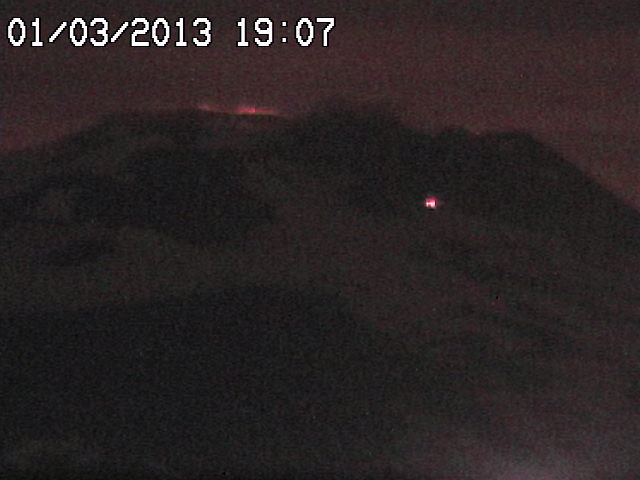 Webcam image of Etna with glow from Voragine crater