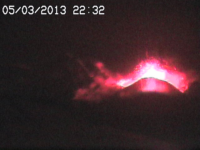 Increasing strombolian activity at the beginning of the eruption