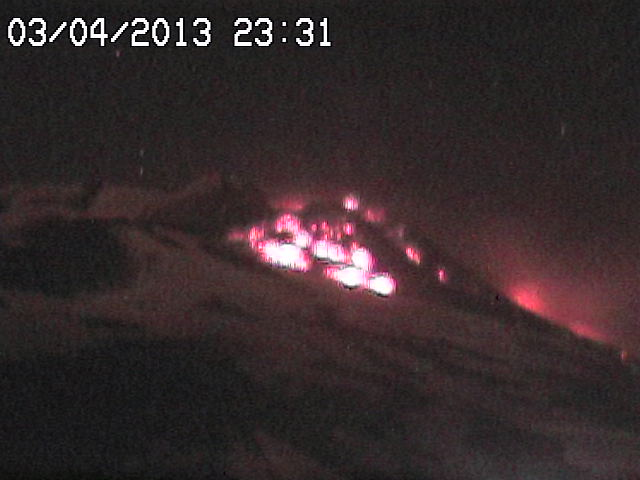 Radiostudio7 webcam image of Etna's New SE crater with still active lava flows