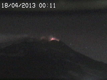 Strombolian activity during the night (Radiostudio7 webcam)
