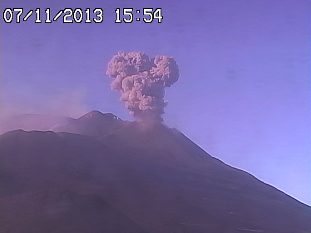 Explsion from Etna's New SE crater in the afternoon