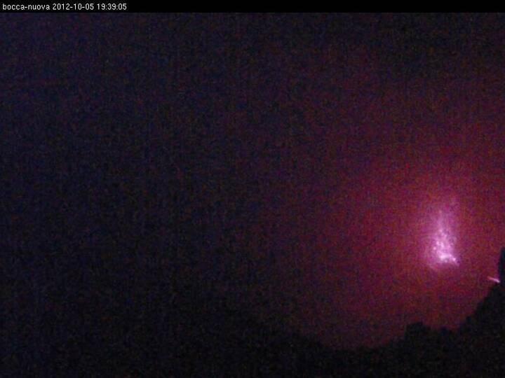 Radiostudio7 webcam image this evening showing a strombolian explosion in Bocca Nuova
