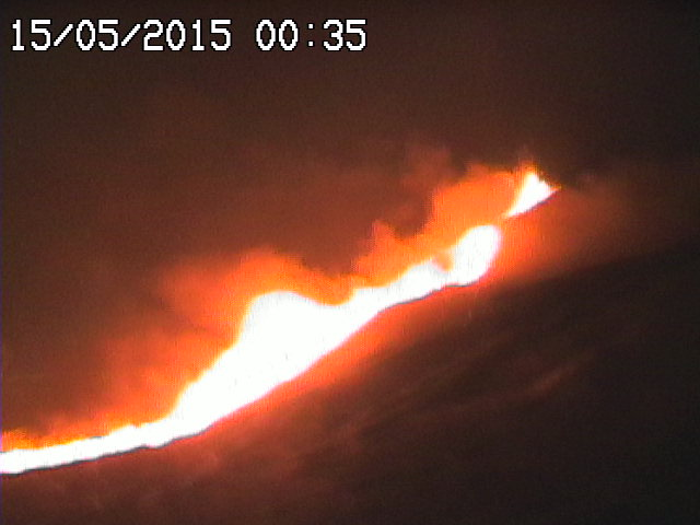 Lava flow and strombolian activity this evening