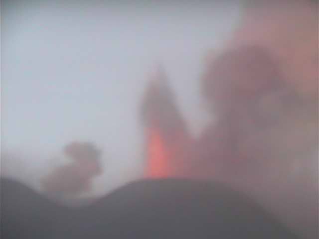 Strombolian explosion at the NSEC in the evening