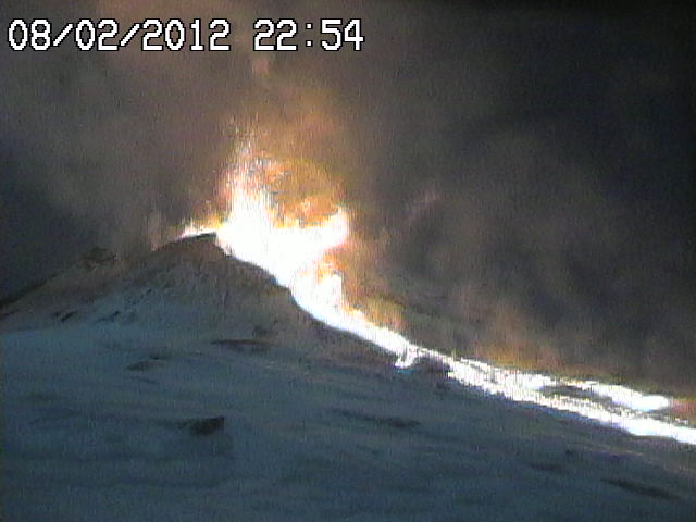 Webcam showing taller explosions