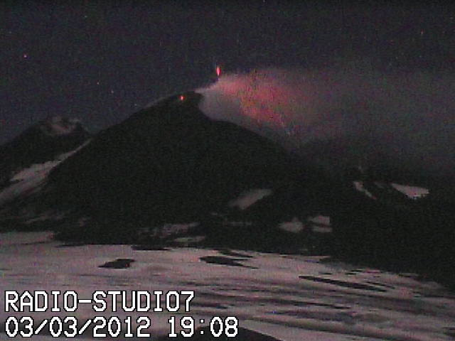 Strombolian eruption at Etna early on 29 Feb, webcam image on the evening of 3 Feb