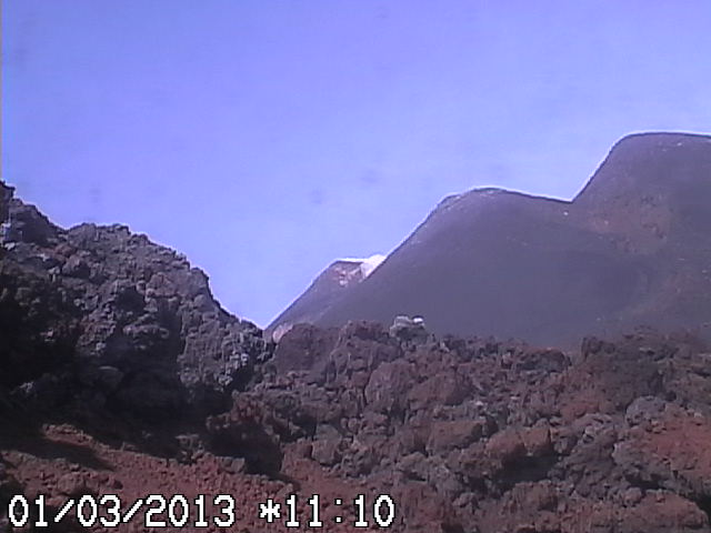 Etna Belvedere webcam, just a few meters from the now looling lava front from yesterday's eruption
