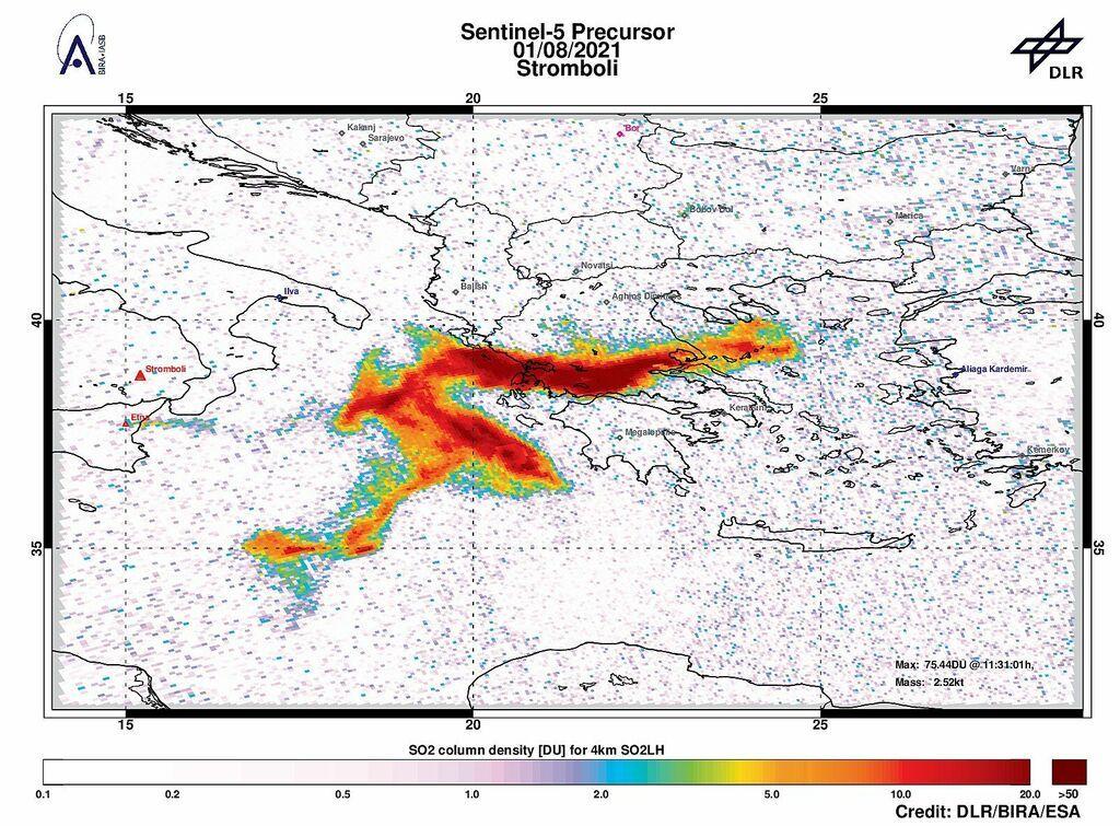 SO2 plume from Etna's 31 Jul-1 Aug eruption seen on Sentinel-2 satellite data (image: @DlrSo2/twitter):