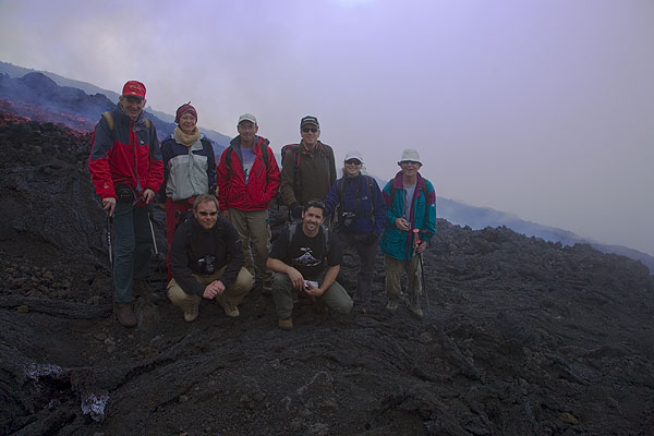 Group photo at the lava flow