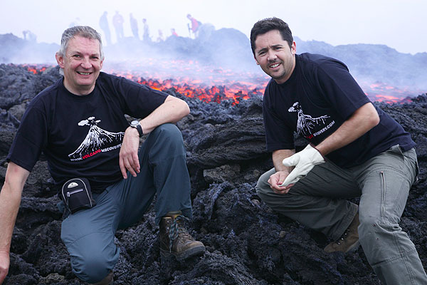 Rob and Adam at the new lava flow on Etna on 13 Oct 2006