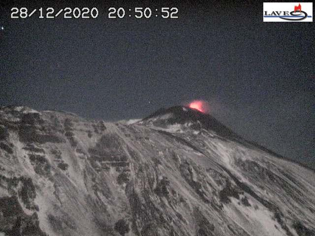 Strombolian eruptions from Etna's New SE crater this evening (image: LAVE webcam from Schiena dell'Asino)