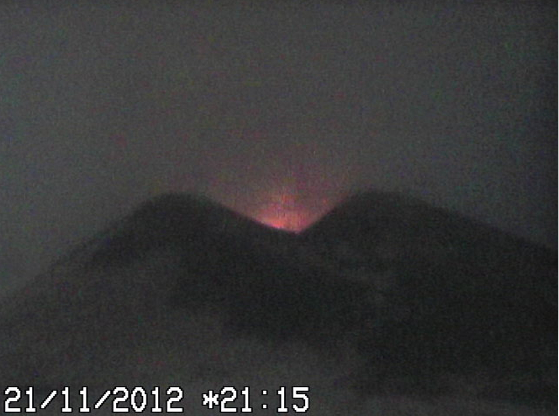 INGV webcam capture showing incandescence in the New SE crater