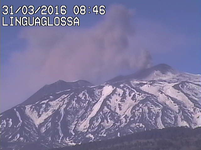 Ash emissions from Etna's NE crater this morning