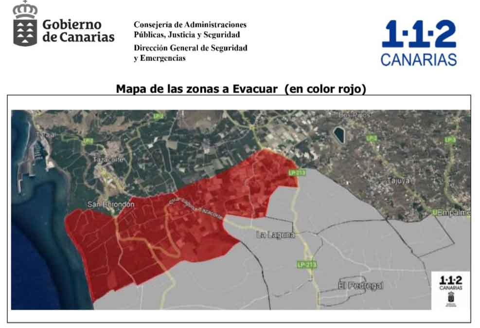 Area ordered for evacuation last night (image: Canarian Government)