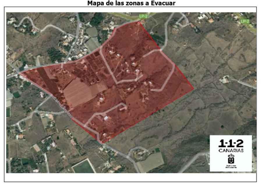 Map of affected areas to evacuate nea La Laguna
