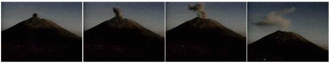 Sequence of the small explosion at San Miguel yesterday (MARN)