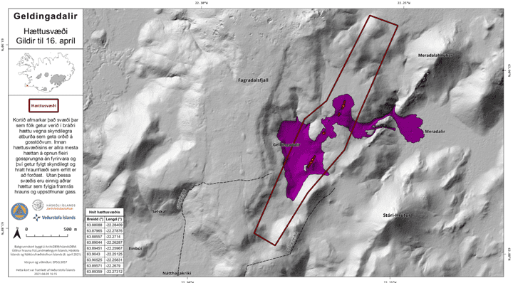 People should avoid the danger area (red lined) due to unexpected new lava flows (image: IMO)