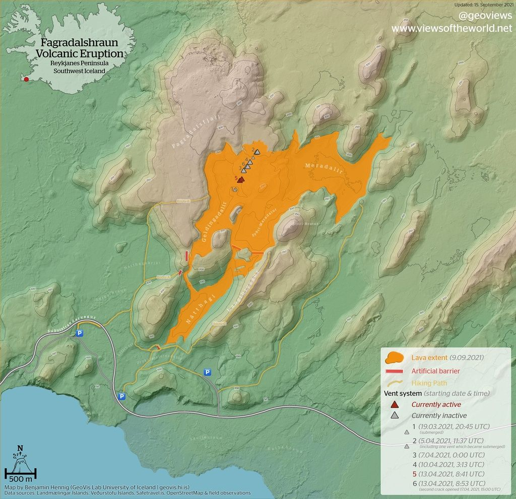 A new lava flow map of the current eruption from 15 September (image: @geoviews/twitter)