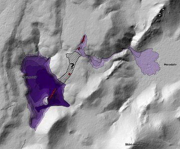 The IMO's map shows the layout of the three eruption sites with estimated thickness and distances reached by the lava flow fields (image: IMO)